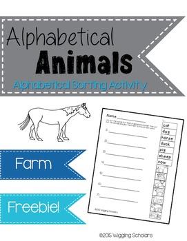 Alphabetical Animal FREEBIE Sorting Activity