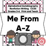 Alphabetical Autobiography CCSS Grades 3-6