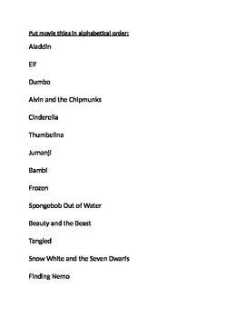 Alphabetical Movie Titles
