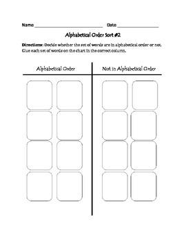 Alphabetical Order #2: Cut, Sort, & Paste Activity