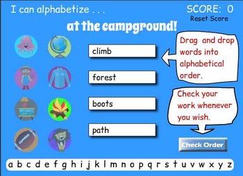 Smartboard Alphabetizing Game