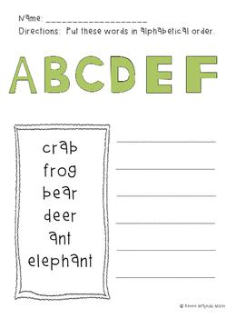 Alphabetical Order Worksheets Packet