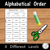 Alphabetical Order - 3 different levels - cut group order glue