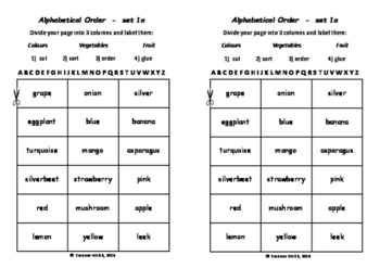Alphabetical Order - 3 different levels - cut group order glue