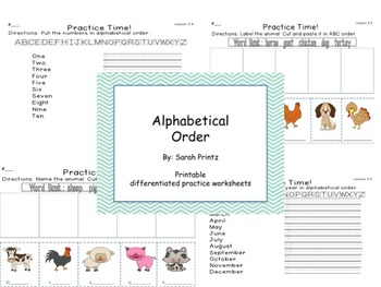 Alphabetical ABC Order - Interactive Lesson and Differentiated Worksheets