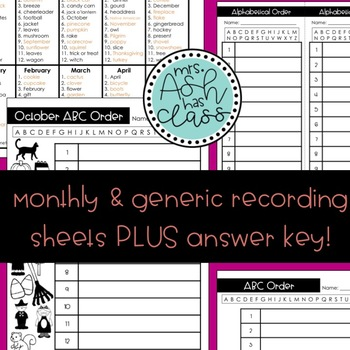 Alphabetical Order (ABC Order) Monthly Themed Centers