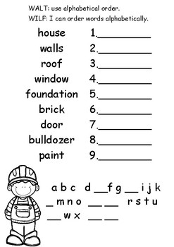 Alphabetical Order - Building a House