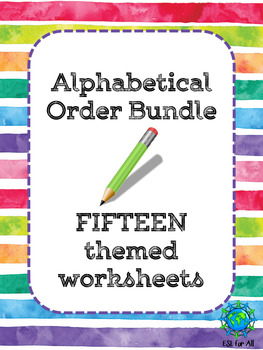 Alphabetical Order: 15 Themed Worksheets