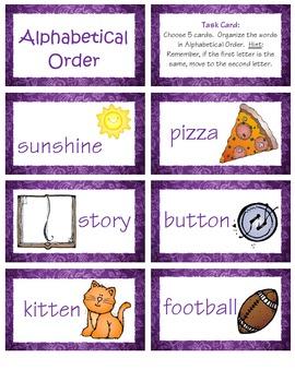 Alphabetical Order Cards
