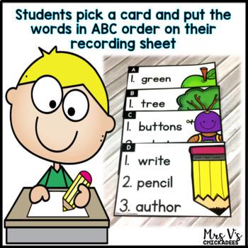 Alphabetical Order Center: ABC Order Task Cards