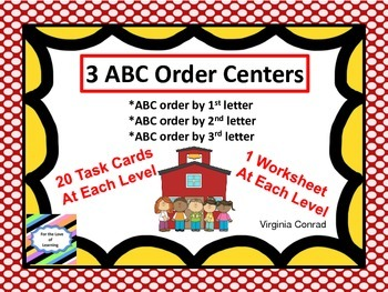Alphabetical Order Centers--3 Levels--Back to School Theme