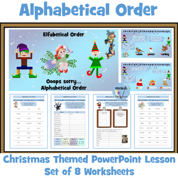 Alphabetical Order Christmas Themed PowerPoint Lesson and Worksheets