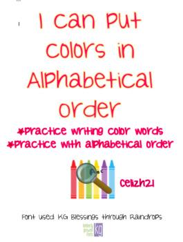 Alphabetical Order- Colors
