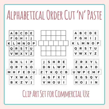 Alphabetical Order Cut and Paste Grids Clip Art Set for Commercial Use