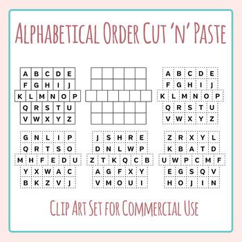 Alphabetical Order Cut and Paste Grids Clip Art Set for Co