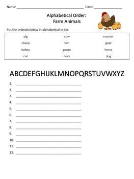 Alphabetical Order: Farm Animals