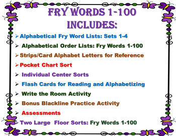 Alphabetical Order Featuring Fry Words: List: 1-100