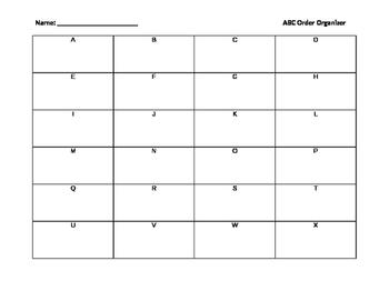 Alphabetical Order Graphic Organizer (ABC order)