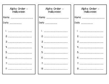 Alphabetical Order - Halloween