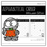 Alphabetical Order Halloween Edition (English and French)