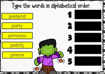 Alphabetical Order - Halloween Theme Boom Cards