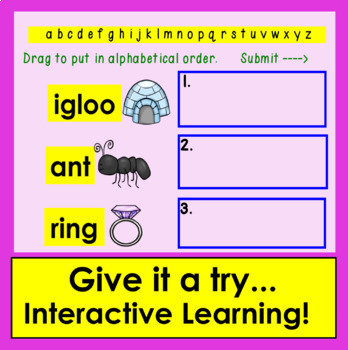 Boom Cards™ Alphabetical Order to the First Letter Interactive Self-Checking