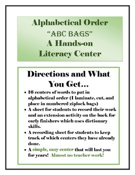 Alphabetical Order Learning Center