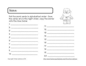 Alphabetical Order Literacy Center: Christmas Theme