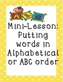 Alphabetical Order Mini Lesson