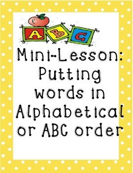 Alphabetical Order Mini Lesson