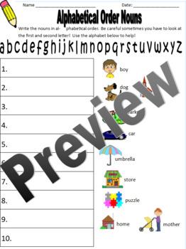 Alphabetical Order Nouns