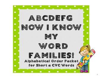 Alphabetical Order Packet for Short a CVC Words - Set 1