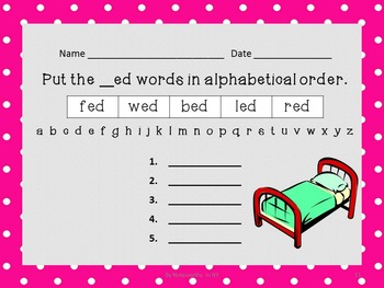 Alphabetical Order Packet for Short e CVC Words - Set 2