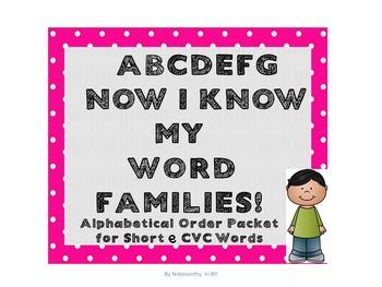 Alphabetical Order Packet for Short e CVC Words - Set 2