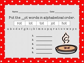 Alphabetical Order Packet for Short o CVC Words - Set 4