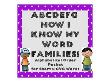 Alphabetical Order Packet for Short u CVC Words - Set 5