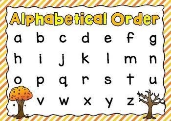 Alphabetical Order Posters- Autumn Theme