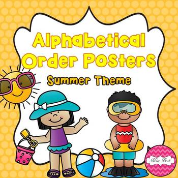 Alphabetical Order Posters- Summer Theme