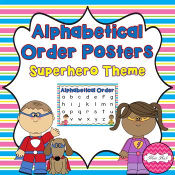 Alphabetical Order Posters- Superhero Theme