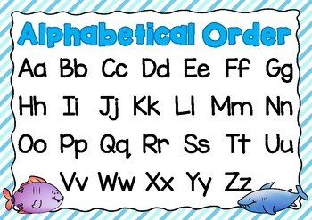 Alphabetical Order Posters- Under the Sea Theme