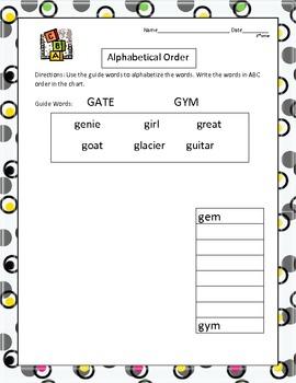Alphabetical Order Practice
