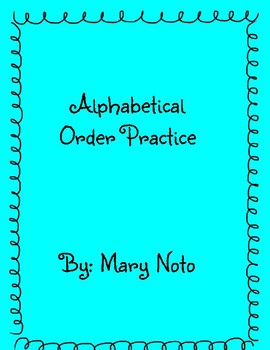 Alphabetical Order Practice- A Words