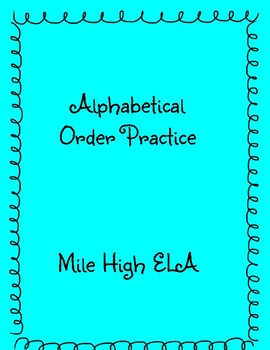 Alphabetical Order Practice B words