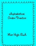 Alphabetical Order Practice B words