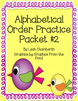 Alphabetical Order Practice Packet 2