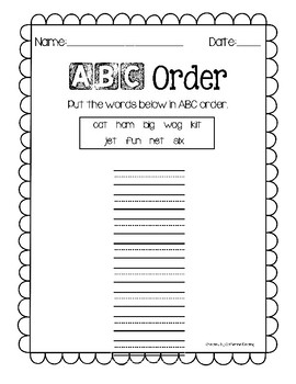 Alphabetical Order Practice Pages by catherine keating | TpT