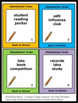 Back to School Alphabetical Order Task Cards and Worksheets