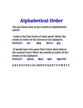 Alphabetical Order Review Sheet
