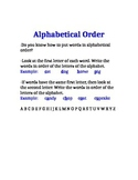 Alphabetical Order Review Sheet