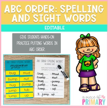 Alphabetical Order- Sight Words and Spelling Words- Editable